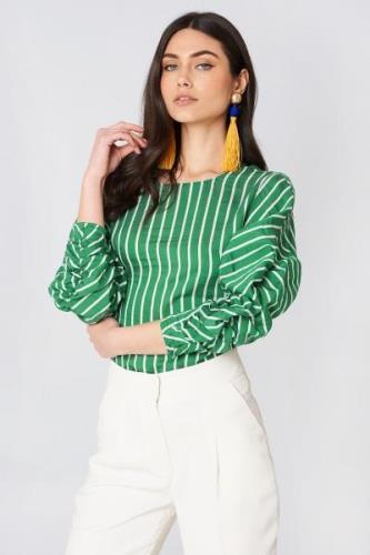 MANGO Draped Blouse - Green