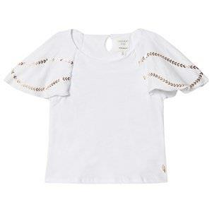 Carrément Beau White Frill Sleeve Top with Rose Gold Detail 2 years