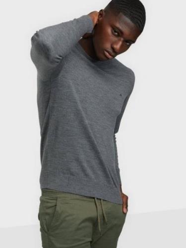 Calvin Klein Superior Wool Crew Neck Sweater Gensere Grey
