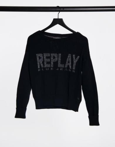 Replay Logo Sweatshirt in Black