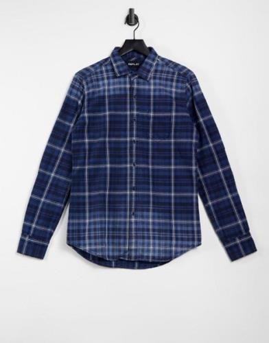 Replay check long sleeve shirt-Blue
