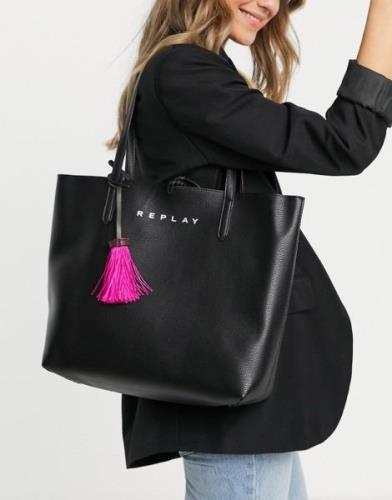 Replay Reversible Holdall Bag in Shock Pink/ Black-Multi