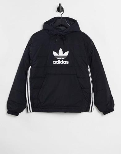 adidas Originals over the head jacket in black with large logo