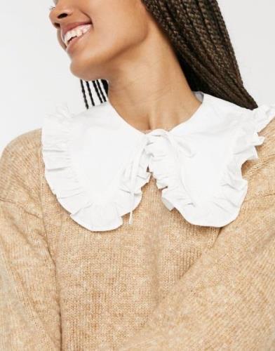 Monki Miso cotton frill tie collar in white