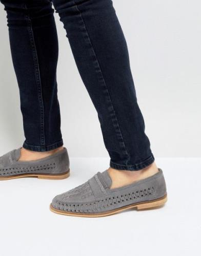 Silver Street Woven Loafers In Grey Suede
