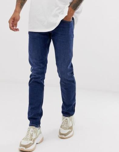 Replay Anbass stretch slim fit jeans in dark wash-Blue