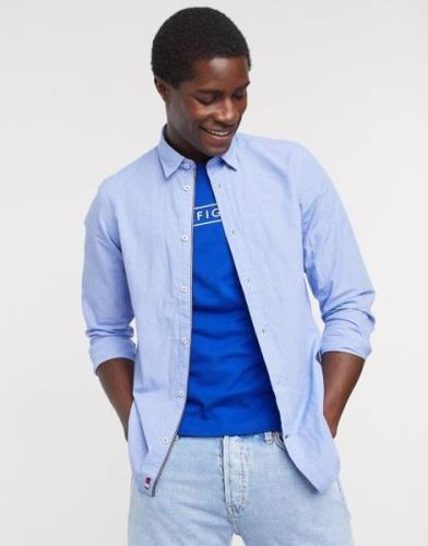 Tommy Hilfiger slim flex dobby long sleeve shirt-Blue