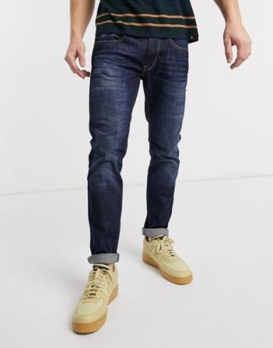 Replay Anbass slim fit power stretch jeans in dark wash-Blue